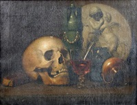 a vanitas still life, with a skull, a roemer, a green vase, and a marble plaque with putti embracing by thomas brigstocke