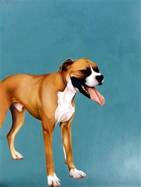 boxer on blue green by bex barton