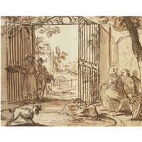 scene by a park gate: an amorous couple watching a dog scaring swans by aert schouman