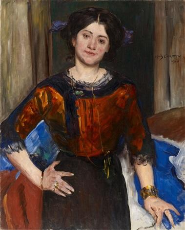 porträt charlotte corinth in brauner bluse by lovis corinth