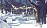 skovparti med born, vinter by hans mortensen agersnap