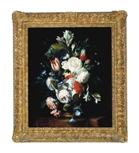 roses, tulips and carnations in a vase on a stone ledge by j. reinhardt