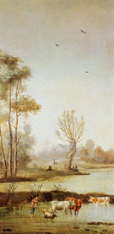 dutch farmer with livestock along the waterways by anthony andriessen