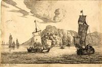 fischerboote in einer felsbucht by reinier nooms