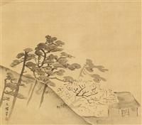 kiefern, blühender kirschbaum und hütte by shiokawa (shion) bunrin