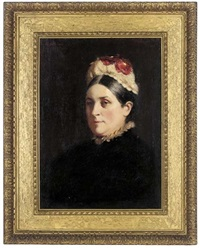 portrait of eliza horne in a black dress with red flowers in her hat by garden grant smith