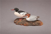 miniature common merganser pair by allen j. king