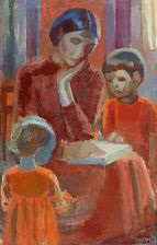 mother reading for the children by paul hom