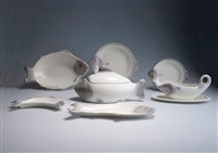 fischservice (design by adolf müller) (set of 38) by wächtersbacher steingutfabrik