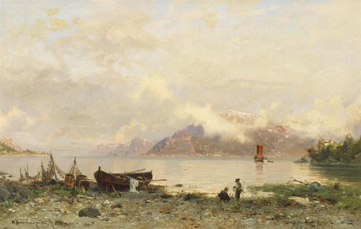 sommertag an einem fjord in norwegen by georg anton rasmussen