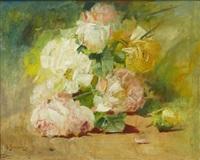stilleben med rosor by georges jeannin