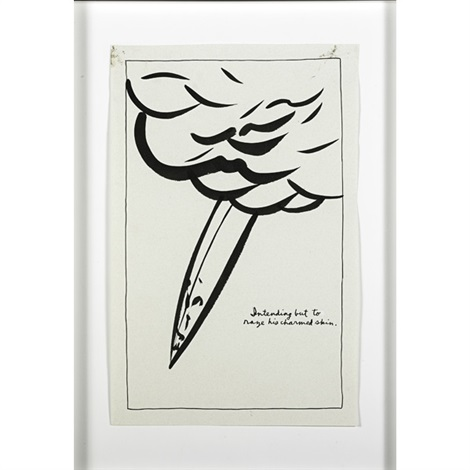untitled (intending but to raze his charmed skin.) by raymond pettibon