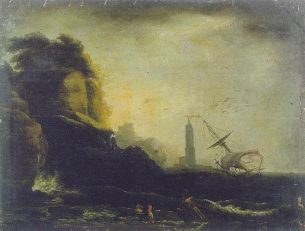 burrasca presso una marina mediterranea by h vernet