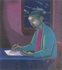 ecrivain devant la fenêtre by sidoine soupart