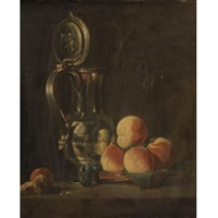 still life of fruits and a silver pitcher by jean baptiste siméon chardin