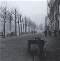 paris street with bicycle by edward clark