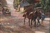 sommertag auf dem lande. pferdefuhrwerk und pferdegespann auf einer dorfstraße by emanuel hegenbarth