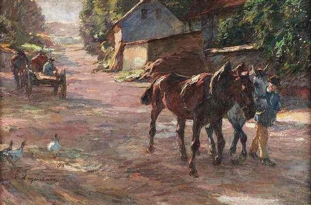 sommertag auf dem lande pferdefuhrwerk und pferdegespann auf einer dorfstraße by emanuel hegenbarth