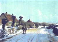 klar vinterdag med to skoleborn på en vej by lars soren jensen rastrup