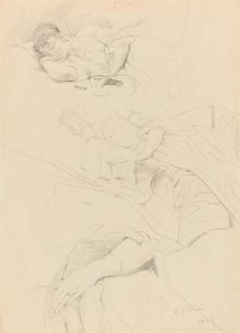 sheet of studies of a sleeping woman by giovanni boldini