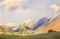 the peaks in the lake district with sheep grazing by william heaton cooper