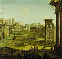 a view of the roman forum by giovanni paolo panini