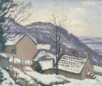 village de morvan sous la neige by louis charlot