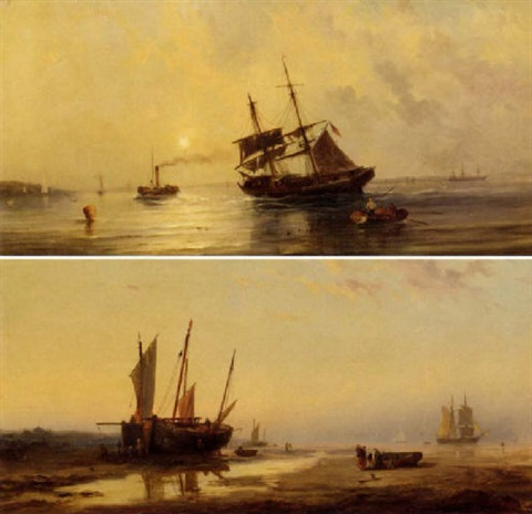 a paddle tug towing a brig out of shallow waters by george frederick gregory