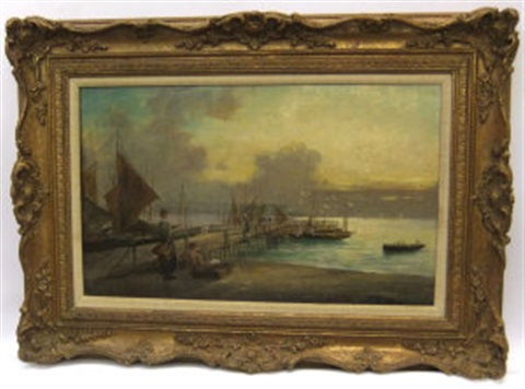 early morning harbor scene working on the shores pair by w richards