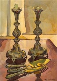 sabbath candlesticks by haim aronshtam