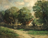 country cottage with stone wall by charles p. appel
