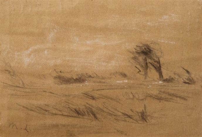 flache landschaft mit bäumen im wind by max liebermann
