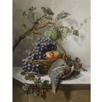 a still life with fruit and a bird by hermina van der haas