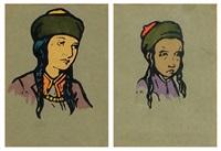 jewish figures (5 works) by meir gur-arie