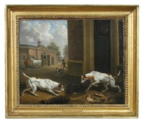 two hounds watching a rat under a basket by charles towne