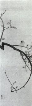 meise auf einem pflaumenblütenzweig by yukawa shodo