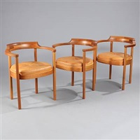 three armchairs (model m-40) (3 works) by henning jensen and torben valeur