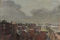 rooftops of boston/longfellow bridge by jack kramer