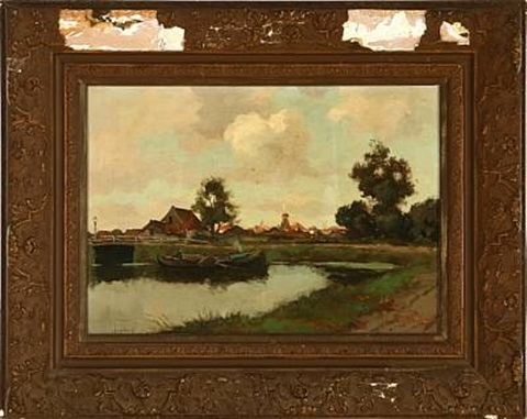 canal scene with a village in the background by chris snijders