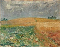 landscape with golden fields by preben hornung