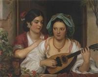 zwei neapolitanerinnen mit mandoline by eduard magnus