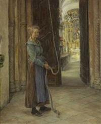 junge mesnerin beim läuten der kirchenglocken by otto piltz