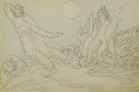 two figures with moon from satyros dux by austin osman spare