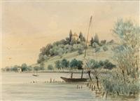 arenenberg. blick vom see auf das malerische napoleonschloss by max bach
