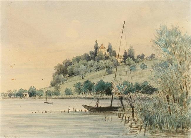 arenenberg blick vom see auf das malerische napoleonschloss by max bach