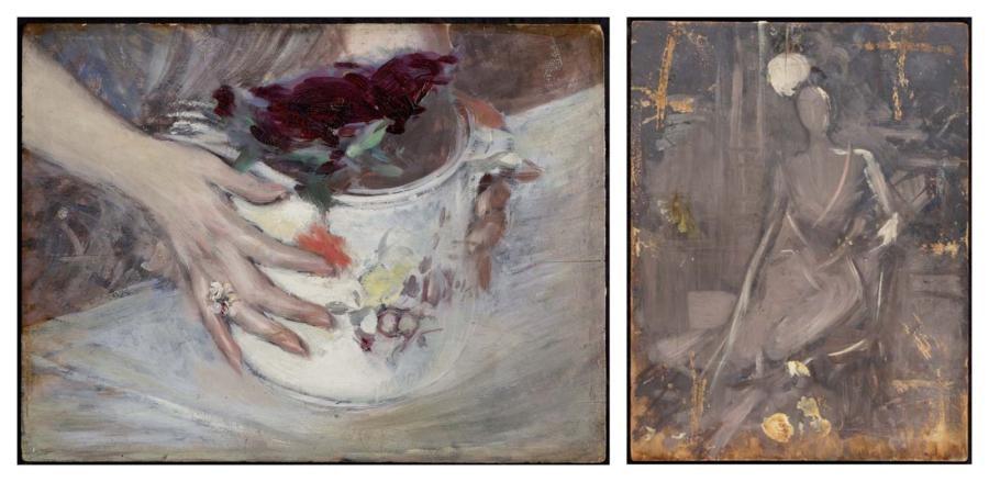 mani attorno a un vaso di sassonia main entourant un vase de saxe ebauche dune femme assise portant un chapeau verso by giovanni boldini