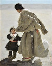 藏族母与子 (tibetan mother and child) by xu weixin
