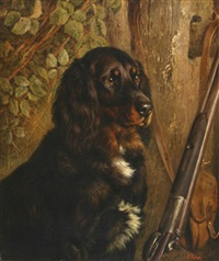 gordon setter with leaning gun by frank paton