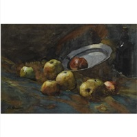a still life with apples, a bottle and a pewter plate by nicolaas bastert