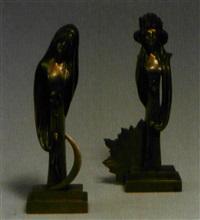 paar bronzestelen tag und nacht (pair) by p. weltchen